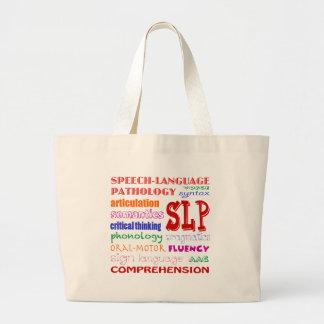 Speech Language Pathologist Colorful Fun Font Large Tote Bag