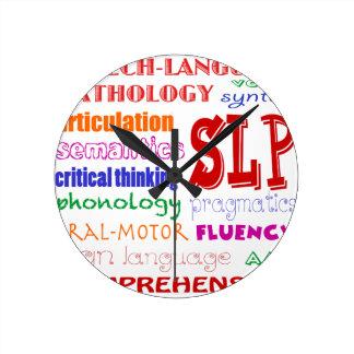 Speech Language Pathologist Colorful Fun Font Round Clock