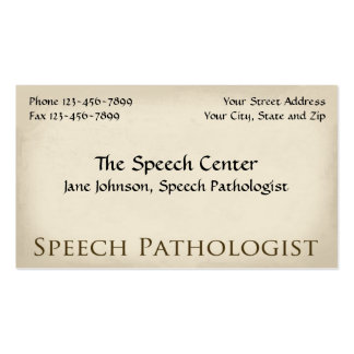 Speech Pathologist Therapist Business Card