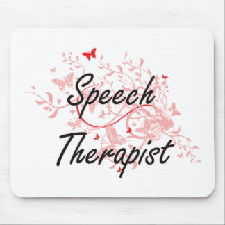 Speech Therapist Artistic Job Design with Butterfl Mouse Pad