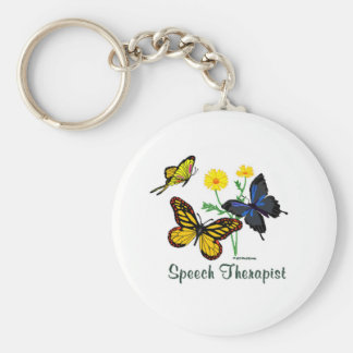 Speech Therapist Butterflies Basic Round Button Keychain