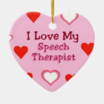 Speech Therapist Hearts Double-Sided Heart Ceramic Christmas Ornament