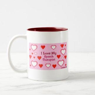 Speech Therapist Hearts Two-Tone Coffee Mug