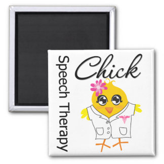 Speech Therapy Chick 2 Inch Square Magnet
