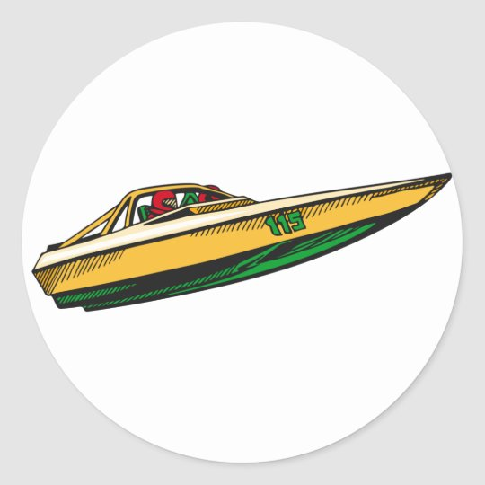 Speed Boat Classic Round Sticker