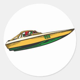 Speed Boat Round Stickers