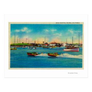 Speed Boating in Balboa, CaliforniaBalboa, CA Postcard