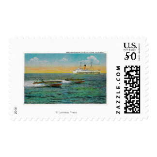 Speed Boating in Catalina Island, California Postage