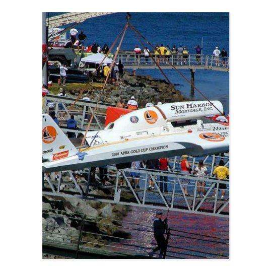 Speed Boats Cranes Postcard