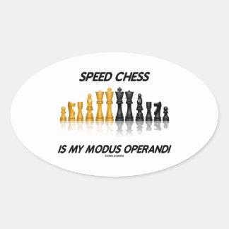 Speed Chess Is My Modus Operandi Reflective Chess Oval Sticker