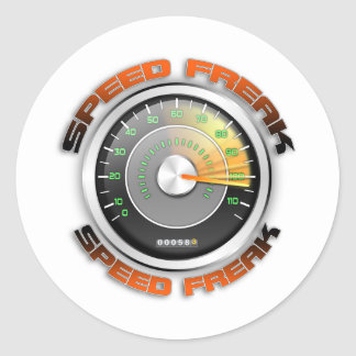 Speed Freak Odometer Classic Round Sticker