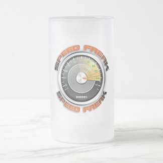 Speed Freak Odometer Frosted Glass Beer Mug