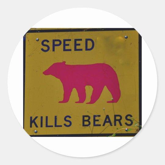 speed kills bear classic round sticker
