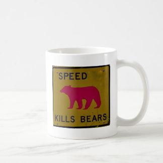 speed kills bear classic white coffee mug