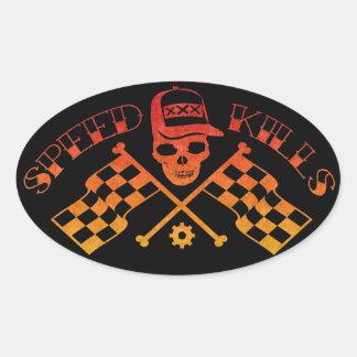 Speed Kills Oval Sticker
