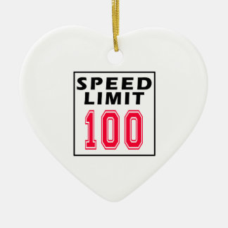 Speed limit 100 birthday designs Double-Sided heart ceramic christmas ornament
