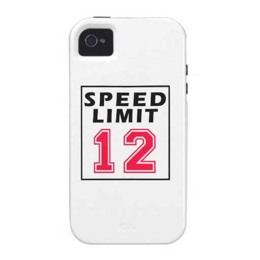 Speed limit 12 birthday designs Case-Mate iPhone 4 covers