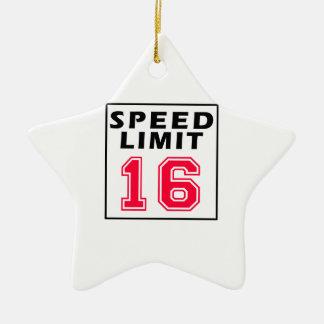 Speed limit 16 birthday designs christmas ornaments
