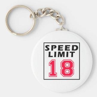 Speed limit 18 birthday designs keychain
