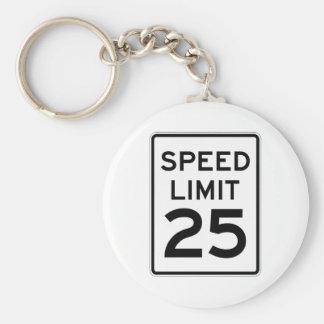 Speed Limit 25 MPH Sign Basic Round Button Keychain