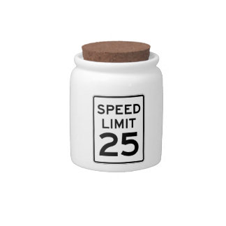 Speed Limit 25 MPH Sign Candy Dishes