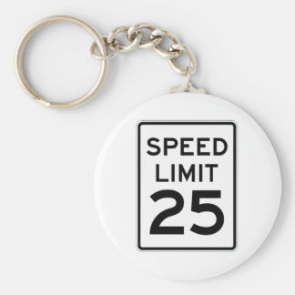 Speed Limit 25 MPH Sign Keychain