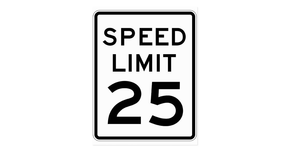 speed limit 25 street sign postcard