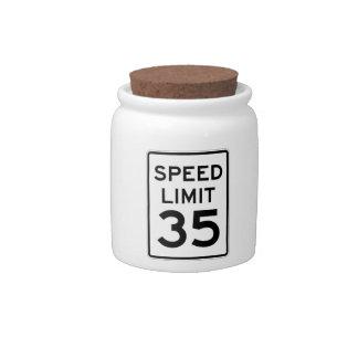 Speed Limit 35 MPH Sign Candy Jar