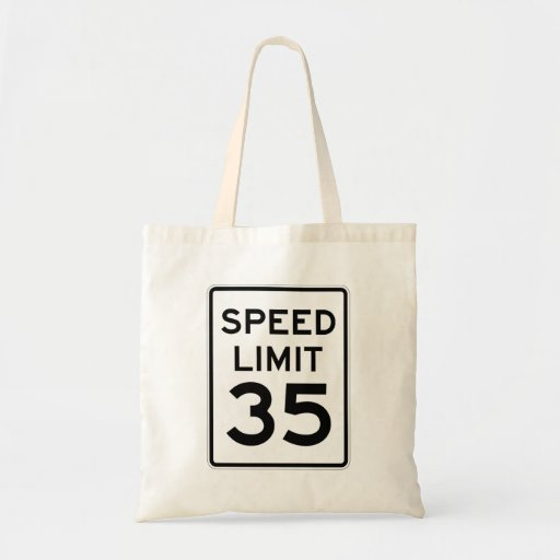 Speed Limit 35 MPH Sign Canvas Bags