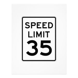 Speed Limit 35 MPH Sign Letterhead