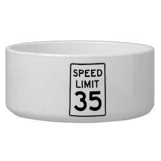 Speed Limit 35 MPH Sign Pet Food Bowl