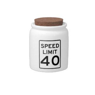 Speed Limit 40 MPH Sign Candy Jar