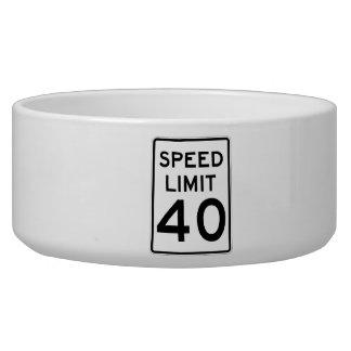 Speed Limit 40 MPH Sign Pet Food Bowl
