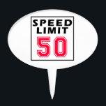 "Speed limit 50 birthday designs cake topper<br><div class=""desc"">Speed limit 50 birthday designs</div>"