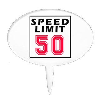Speed limit 50 birthday designs cake topper