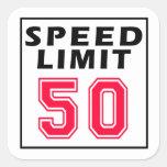 Speed limit 50 birthday designs square sticker