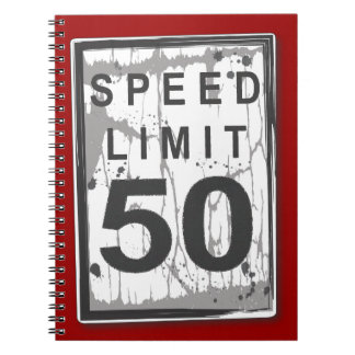 Speed Limit 50 MPH Grungy Guest Book Notebook