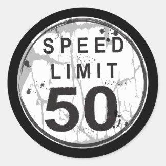Speed Limit 50 MPH Grungy Sticker