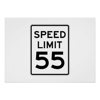 Speed Limit 55 MPH Sign Poster