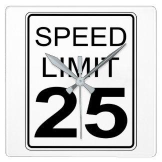 Speed Limit Square Wall Clock
