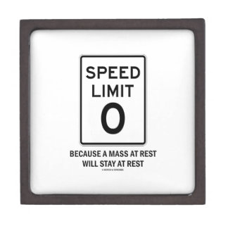 Speed Limit Zero Because A Mass At Rest Will Stay Gift Box