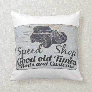 Speed shop throw pillow