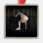 Speed Skater; Cool Square Metal Christmas Ornament