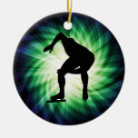 Speed Skater Gift Double-Sided Ceramic Round Christmas Ornament