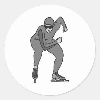 speed skater graphic greys classic round sticker