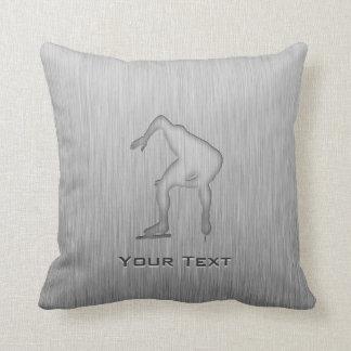 Speed Skater; Metal-look Throw Pillow