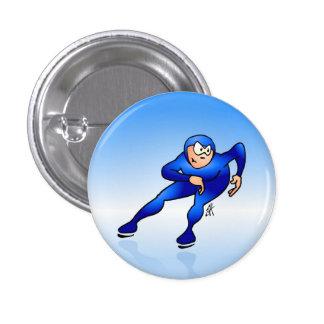 Speed skater pinback button