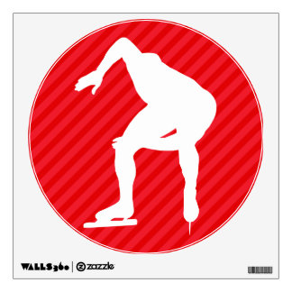 Speed Skater; Scarlet Red Stripes Room Stickers