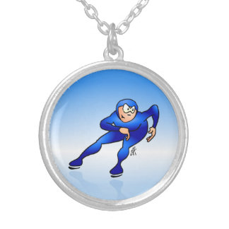 Speed skater silver plated necklace