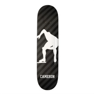 Speed Skating; Black & Dark Gray Stripes Skateboard Decks